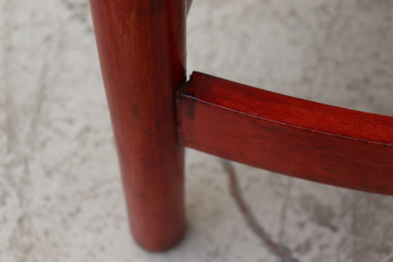Red Stained Wim Den Boon Style Tri-Pod Rush Chair 10