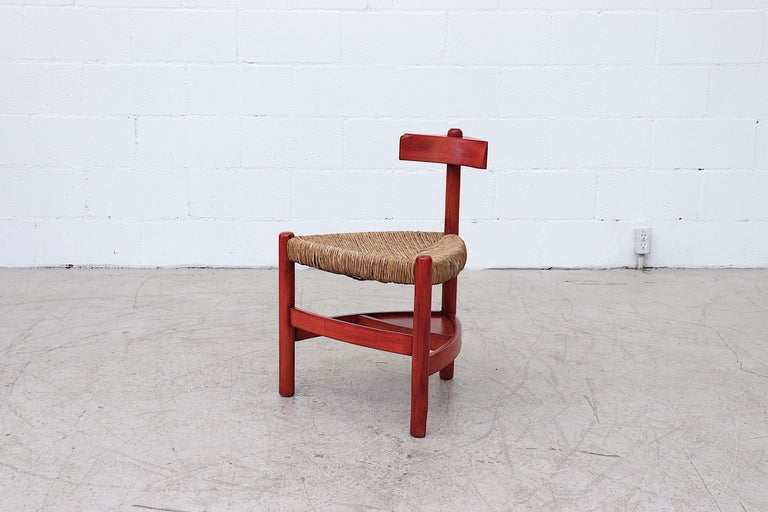 Mid-Century Modern Red Stained Wim Den Boon Style Tri-Pod Rush Chair