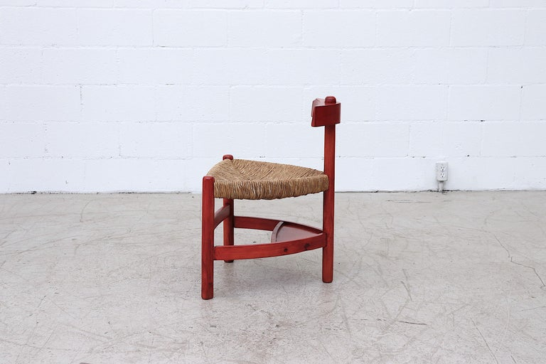 Dutch Red Stained Wim Den Boon Style Tri-Pod Rush Chair