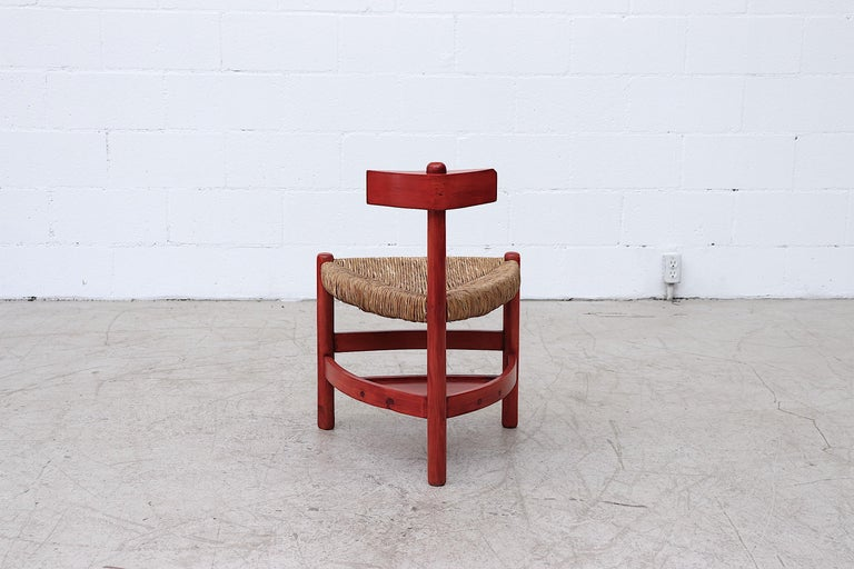1970s Red Stained Wim Den Boon Style Tri-Pod Rush Chair