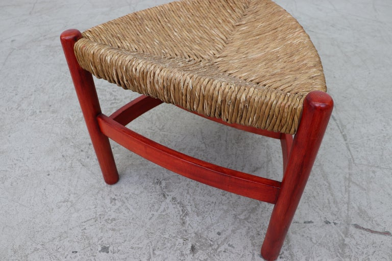Red Stained Wim Den Boon Style Tri-Pod Rush Chair 2