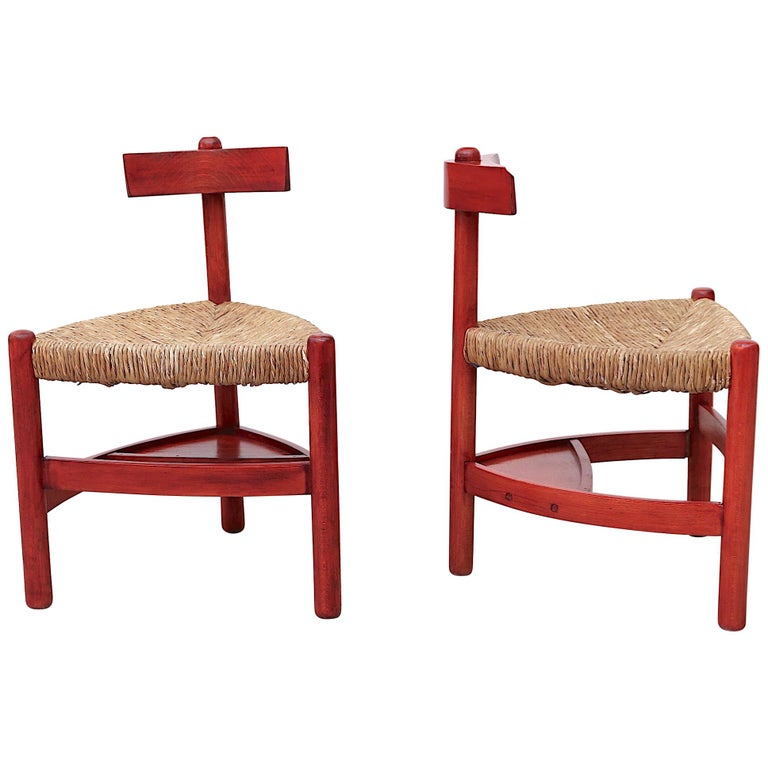 Red Stained Wim Den Boon Style Tri-Pod Rush Chair