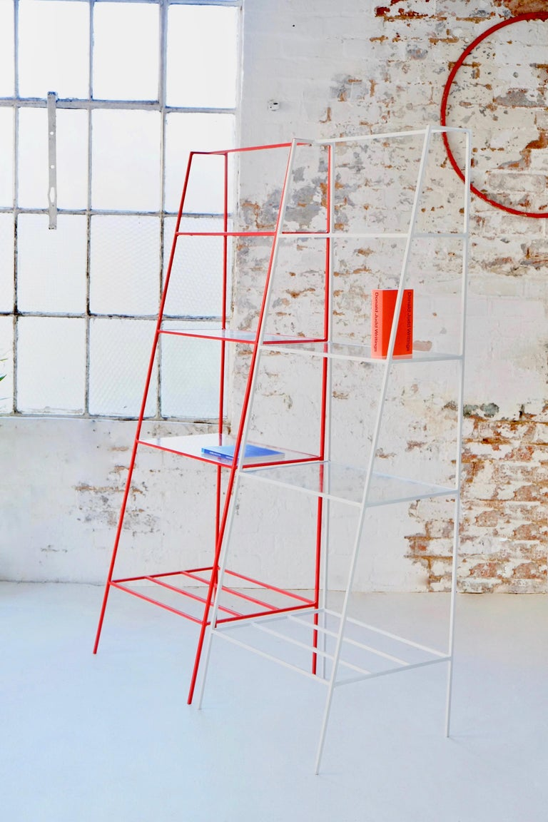 British Red Steel and Glass 'A' Room Divider, Minimal Steel Metal Shelving For Sale