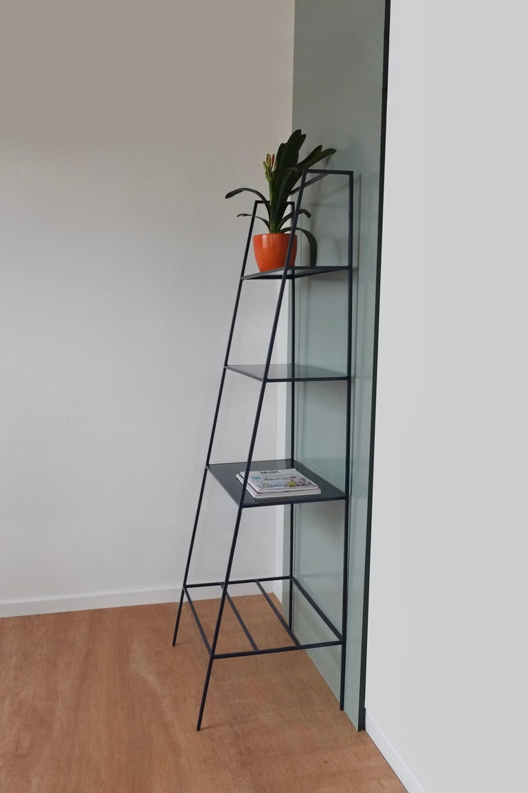 Red Steel and Glass 'A' Room Divider, Minimal Steel Metal Shelving For Sale 2