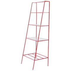 Red Steel and Glass 'A' Room Divider, Minimal Steel Metal Shelving