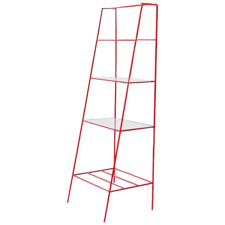 Red Steel and Glass 'A' Room Divider, Minimal Steel Metal Shelving For Sale
