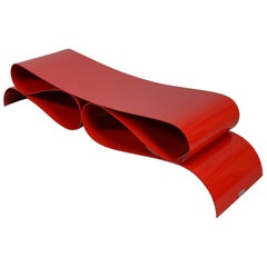 Red Steel Bench by Agenore Fabbri for Tecno, 1980s