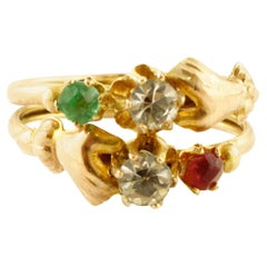 Red Stone, Green Stone, White Stones, 9 Karat Rose Gold Old Retrò Ring