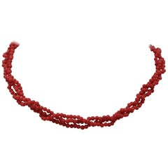 Red Stones Torchon Necklace with 18 Karat Yellow Gold Closure