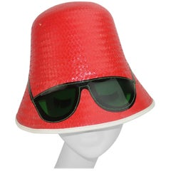 Red Straw Bucket Beach Hat With Built-In Sunglasses, C.1960