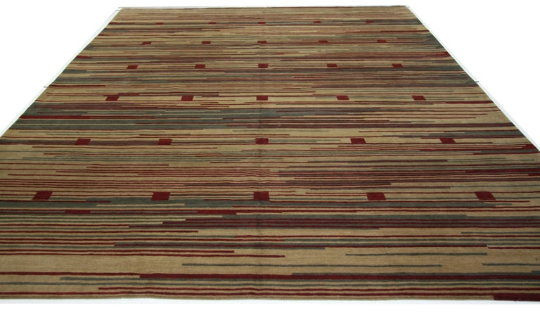 Nepalese Red Stripe Tibetan Design Area Rug For Sale