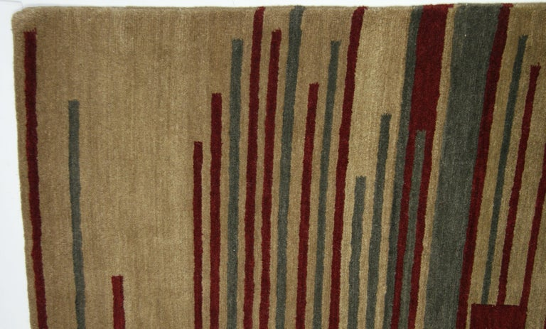 Hand-Knotted Red Stripe Tibetan Design Area Rug For Sale