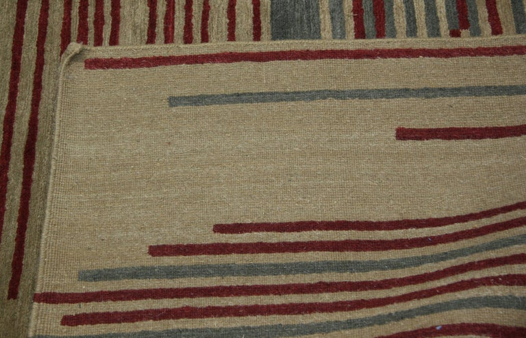 Red Stripe Tibetan Design Area Rug In New Condition For Sale In Los Angeles, CA