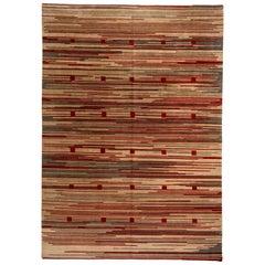 Red Stripe Tibetan Design Area Rug