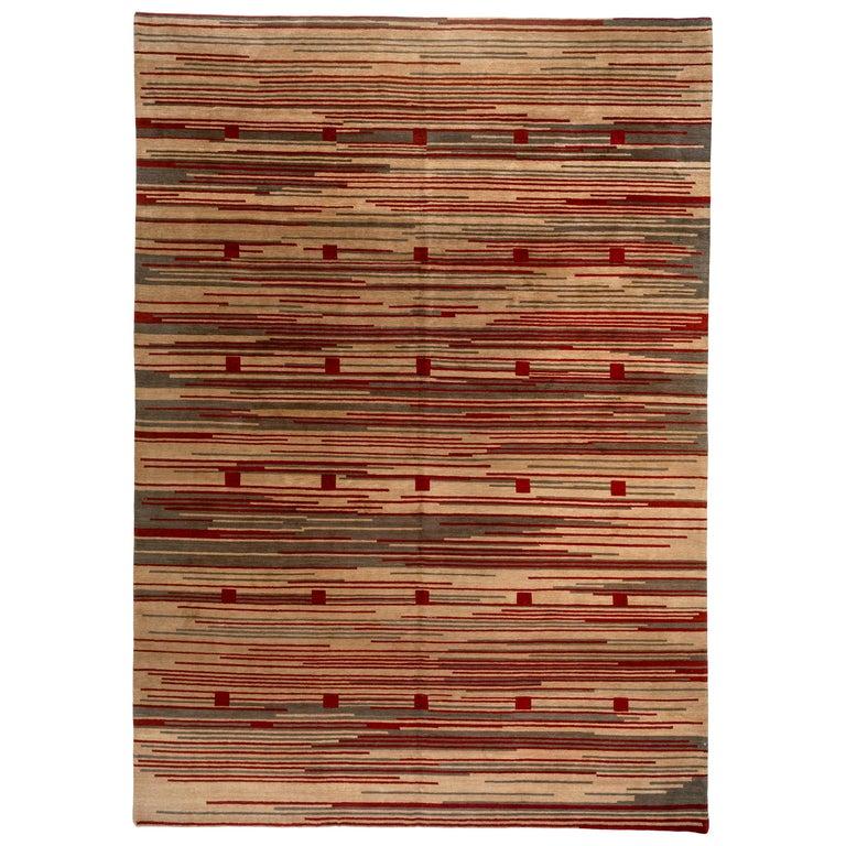 Red Stripe Tibetan Design Area Rug For Sale