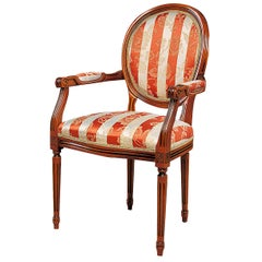 Red Striped Chair with Armrests