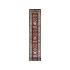 Red Super Kazak Geometric Design Extra Large Runner Pure Wool Hand Knotted Rug