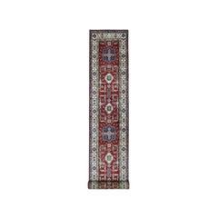 Red Super Kazak Geometric Design Hand Knotted Extra-Large Runner Oriental Rug