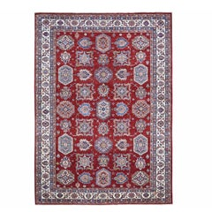 Red Super Kazak Pure Wool Geometric Design Hand Knotted Oriental Rug