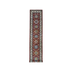 Red Super Kazak Pure Wool Geometric Design Hand Knotted Runner Rug