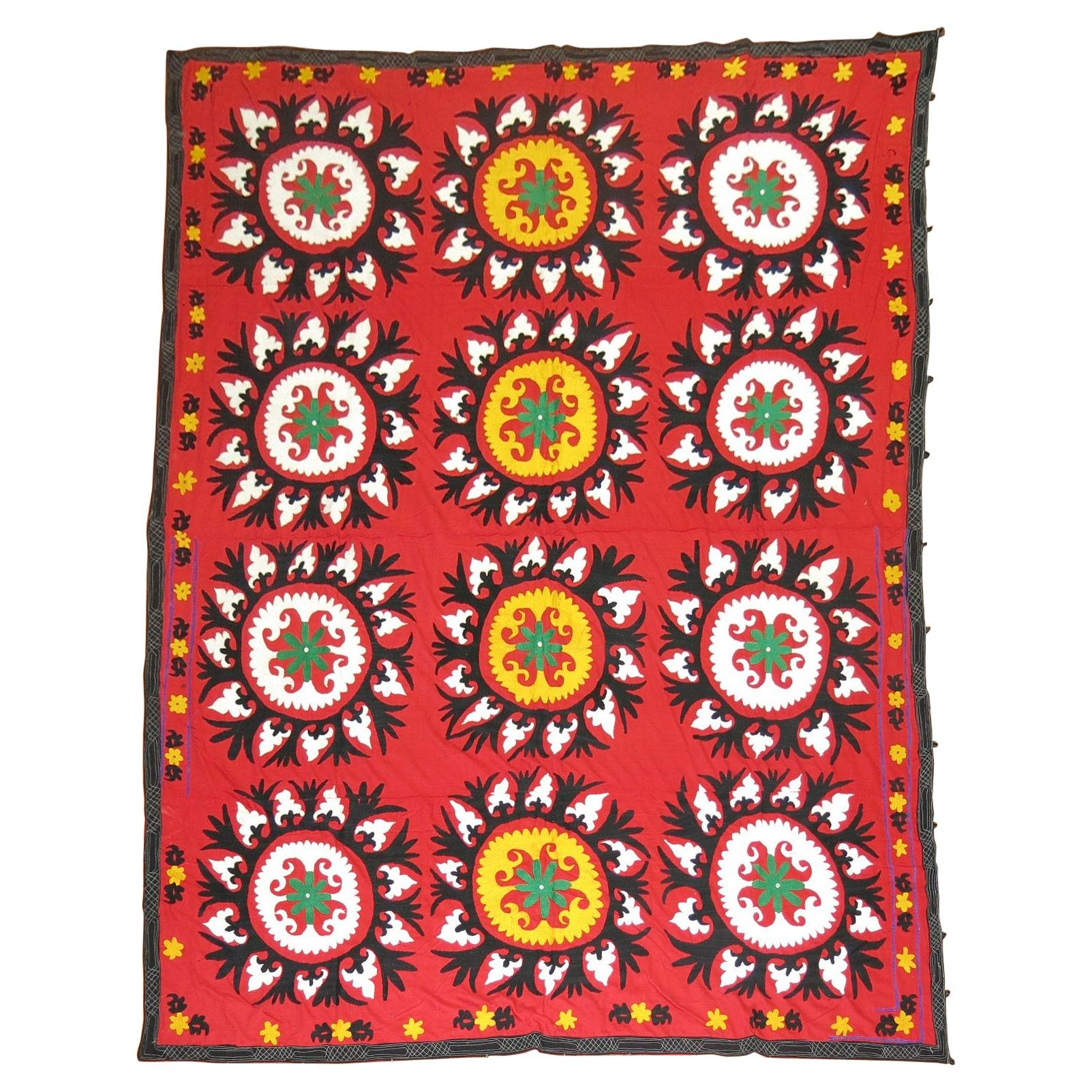 Red Suzanni Turkish Embroidery Textile