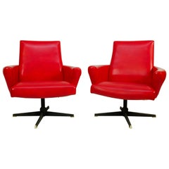 Red Swivel Armchairs by Drevotvar, 1978