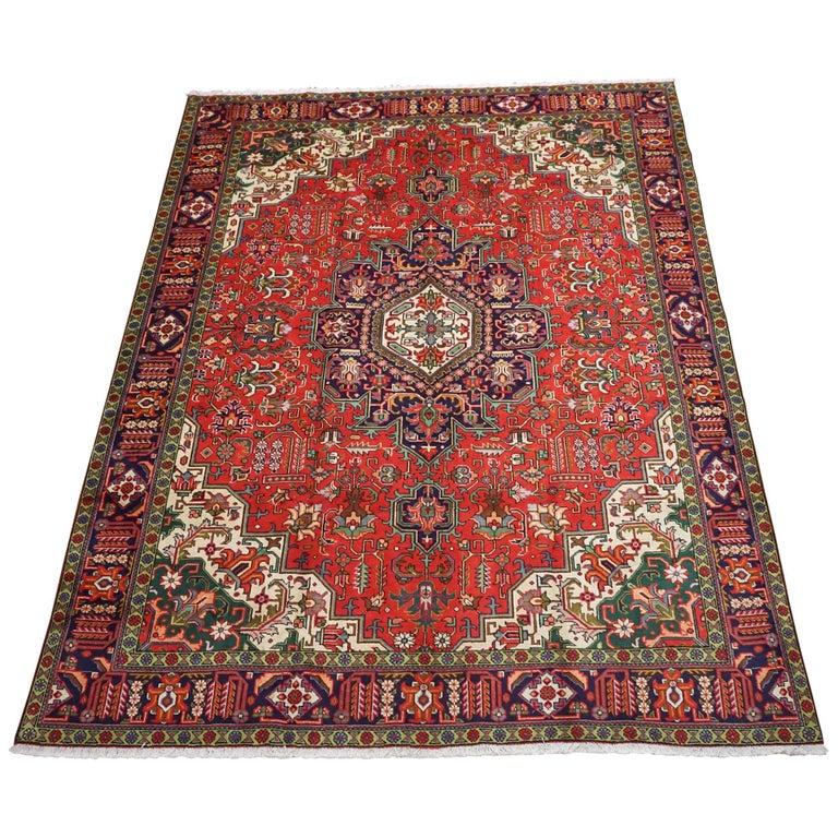 Red Tabriz Area Rug, Circa 1940 For Sale At 1stdibs