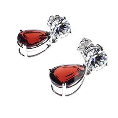 Red Teardrop Garnet and White Danburite Dangle Earrings January Birthstone