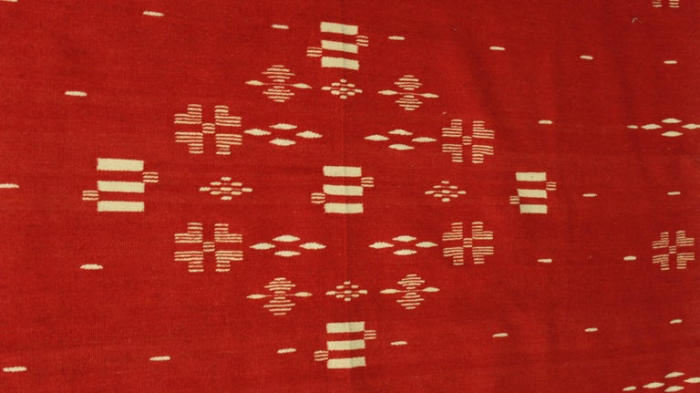 Red Texcoco Blanket, circa 1930s In Good Condition For Sale In Pasadena, CA