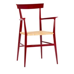 Red Tigullina Chair with Armrests by La Sedia Di Chiavari