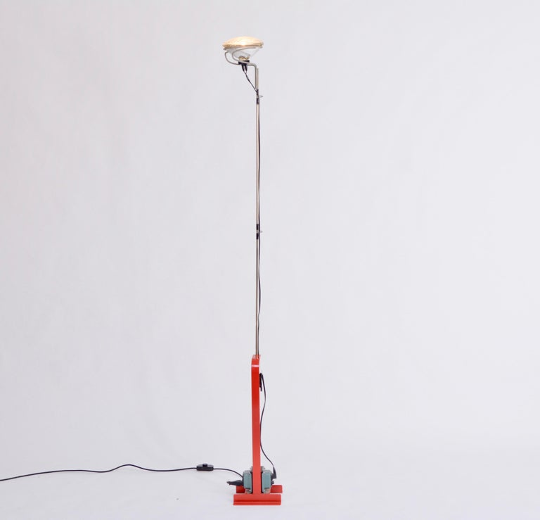 Mid-Century Modern Red Toio Floor Lamp by Achille and Pier Giacomo Castiglioni for Flos, 1962 For Sale