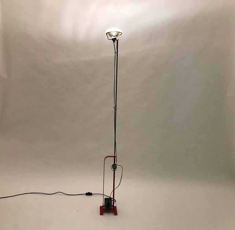 Italian Red Toio Floor Lamp by Achille and Pier Giacomo Castiglioni for Flos, 1962 For Sale