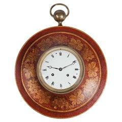 Red Tole Charles X Bullseye Wall Clock