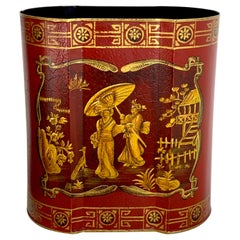 Red Tole Gilt Chinoiserie Wastepaper Can