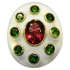 MAIKO NAGAYAMA Red Tourmaline and Hand Carved Rock Crystal Contemporary Ring