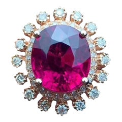 Red Tourmaline Diamond Ring 18 Karat Yellow Gold