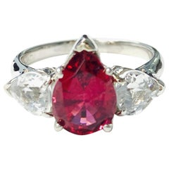 Red Tourmaline Pear Shape and White Sapphire Engagement Ring in Platinum