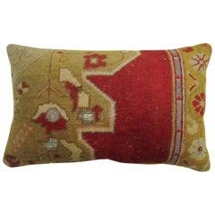 Red Traditional Medallion Large Turkish Oushak Rug Pillow