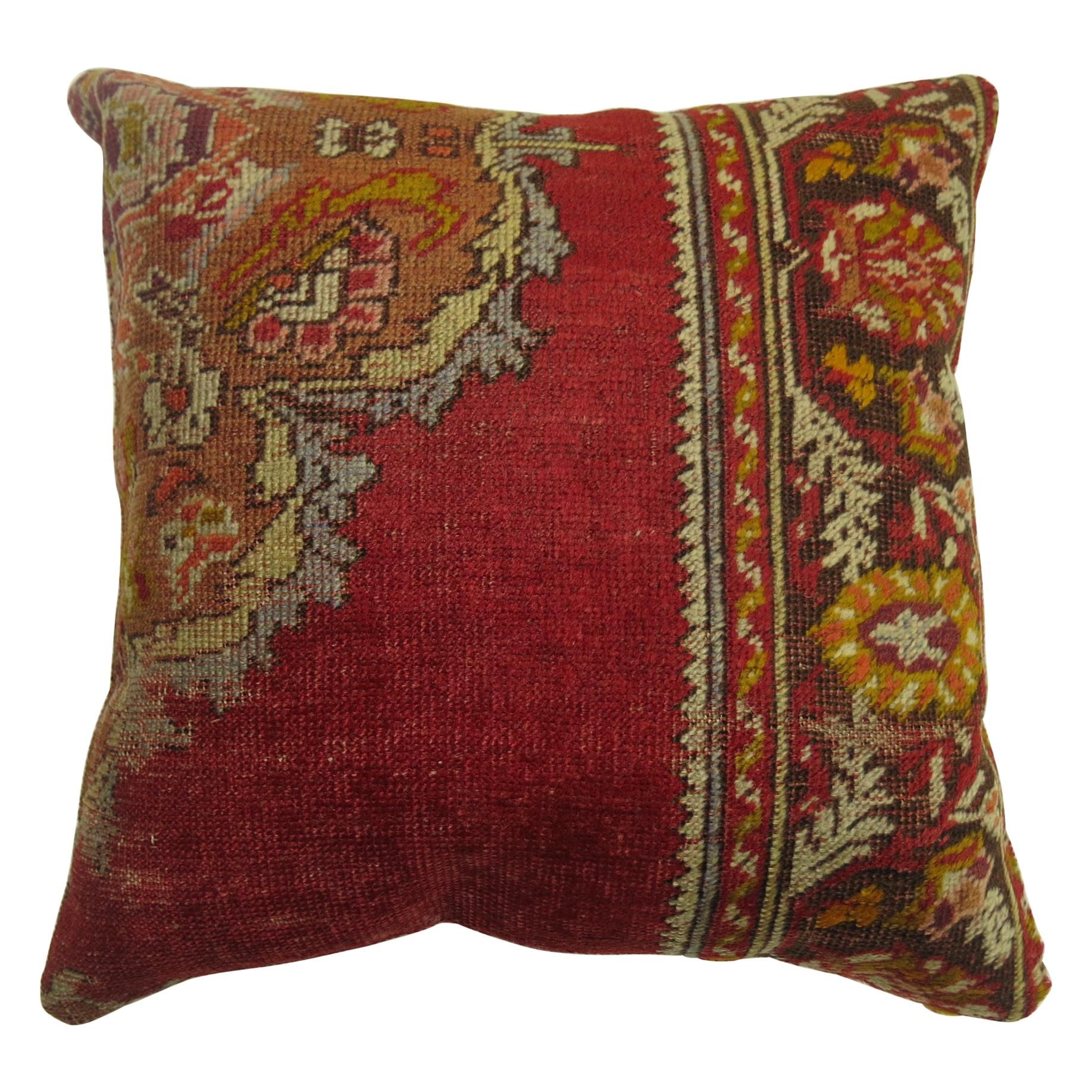 Red Traditional Turkish Rug Pillow