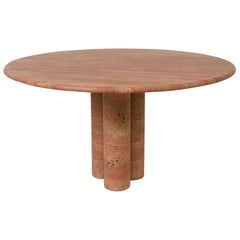 Red Travertine Dining Table by Mario Bellini