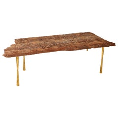 Red Travertine Natural Edge Slab Stone and Gold Leaf Coffee Table, Italy