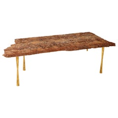 Red Travertine Natural Edge Slab Stone Marble and Gold Leaf Coffee Table, Italy