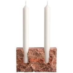 Red Travertine Sculpted Candleholder by Sanna Völker