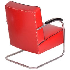 Red Tubular Steel Cantilever Chrome Armchair, High Quality Leather, 1930s