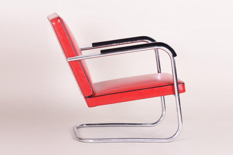 Bauhaus Red Tubular Thonet Armchair by Anton Lorenz, New Leather Upholstery, 1930s For Sale