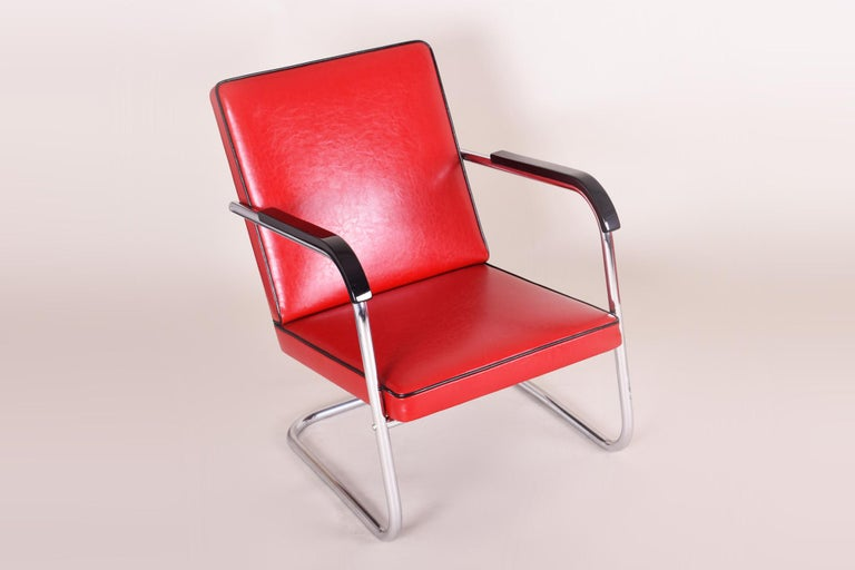 Red Tubular Thonet Armchair by Anton Lorenz, New Leather Upholstery, 1930s In Good Condition For Sale In Prague 1, CZ