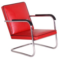 Red Tubular Thonet Armchair by Anton Lorenz, New Leather Upholstery, 1930s