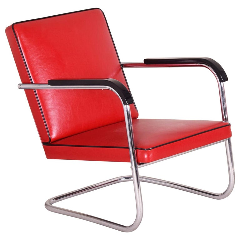 Red Tubular Thonet Armchair by Anton Lorenz, New Leather Upholstery, 1930s For Sale