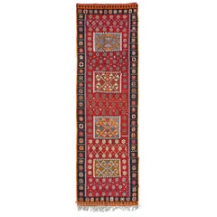 Red Turkish Kilim Runner Rug Made from 100% Wool