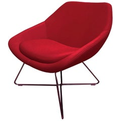 Red Upholstered Allermuir A642 Lounge Chair with Wire Base
